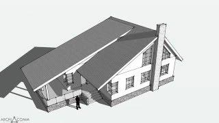 Эскиз №150.1. Современный загородный дом. 150 м2. Библиотека архитектурных стилей.