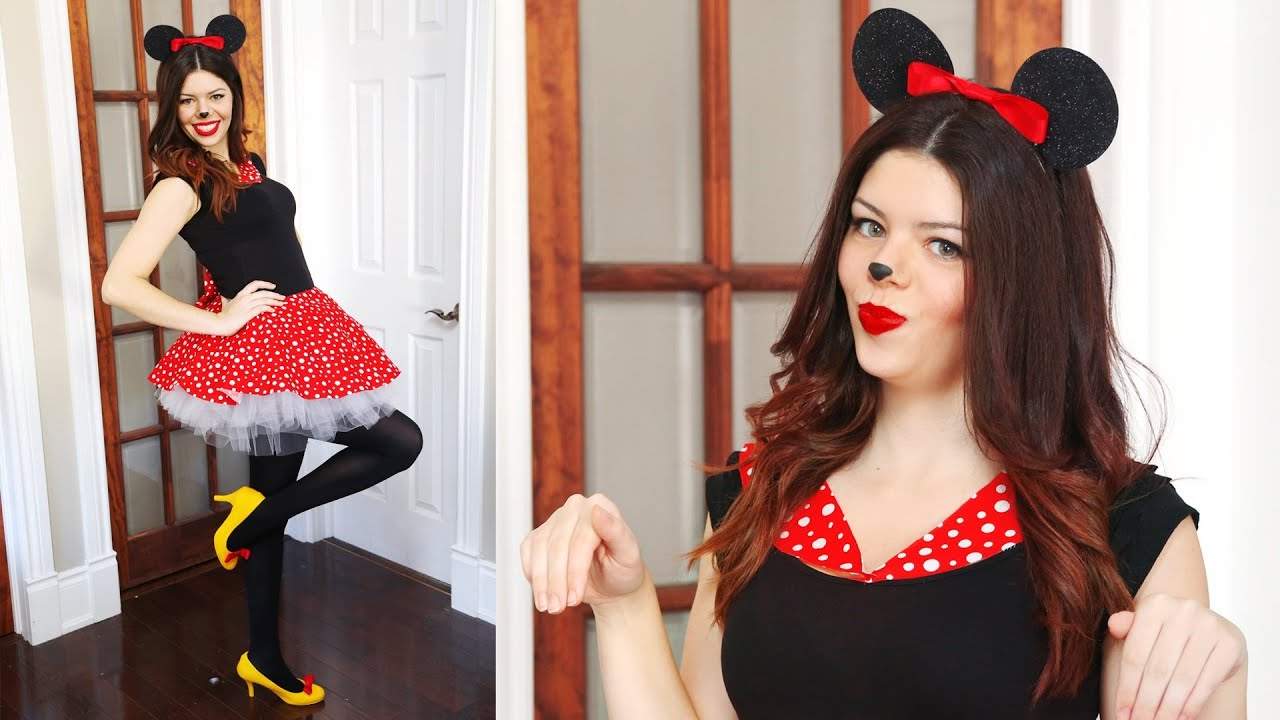 diy minnie mouse halloween costume - no sew - youtube