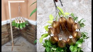 DIY Hanging Wooden Stand Ideas Using Recycled Plastic Bottles with 3 Plants
