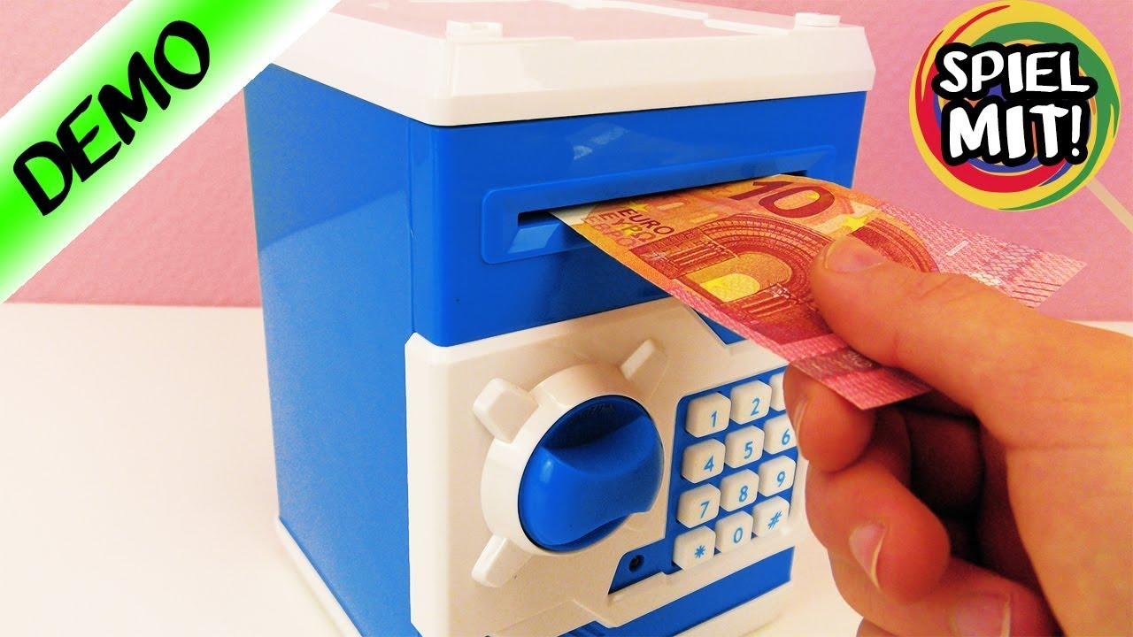 geldautomat f r zuhause frisst geldschein tresor f r das kinderzimmer elektronische spardose. Black Bedroom Furniture Sets. Home Design Ideas
