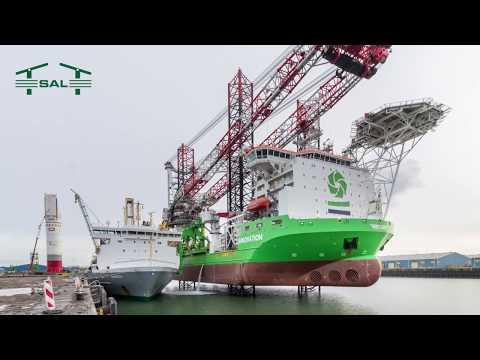 SAL: MV Svenja, transshipment of monopiles to installation vessel