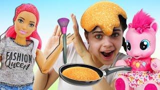 Прикольные видео ЧЕЛЛЕНДЖИ Май Литл Пони и Куклы Барби онлайн Игры Макияж и Блинный Challenge