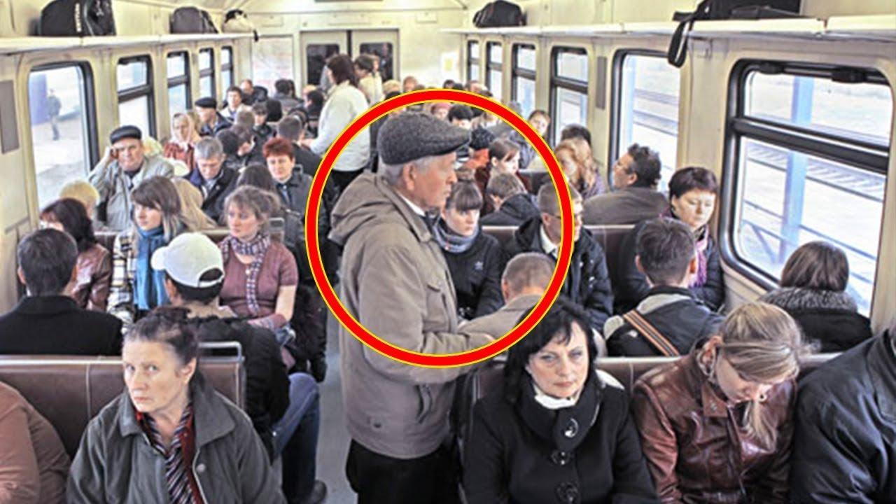 ثلاث شباب سخروا من رجل عجوز في القطار ، و لكن رد فعله كان مذهلا