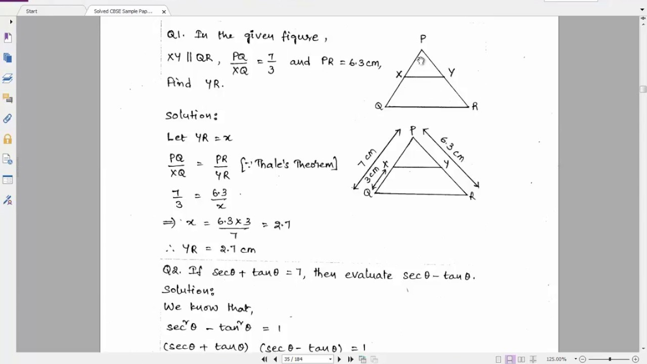 Solved CBSE Sample Paper 2 for Class 10 Maths | Important Questions for  Class 10 Maths