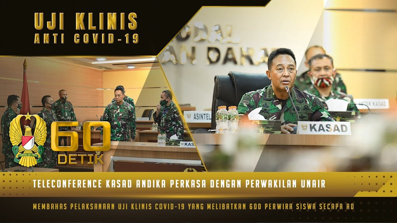 "Pembahasan Uji Klinis Anti Covid-19 dalam Teleconference Kasad dengan Perwakilan UNAIR | 60"" TNI AD"