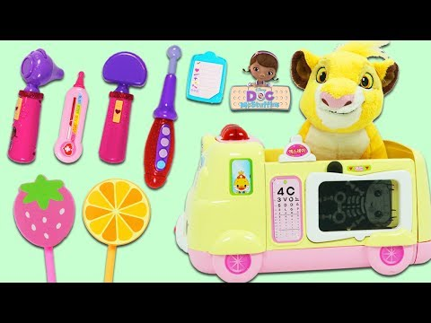 Disney Lion King Simba Eats too Much Ice Cream and Visits Doc McStuffins Toy Ambulance Hospital!