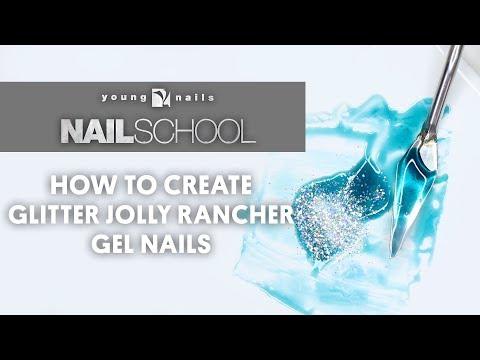 YN NAIL SCHOOL - HOW TO CREATE GLITTER JOLLY RANCHER GEL NAILS