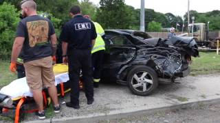 Holtsville Fire Department MVA Dump Truck vs Car July 14, 2016