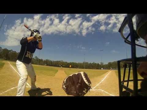 Baseball. Pinehills vs Redlands. GoPro attached to side of catchers helmet