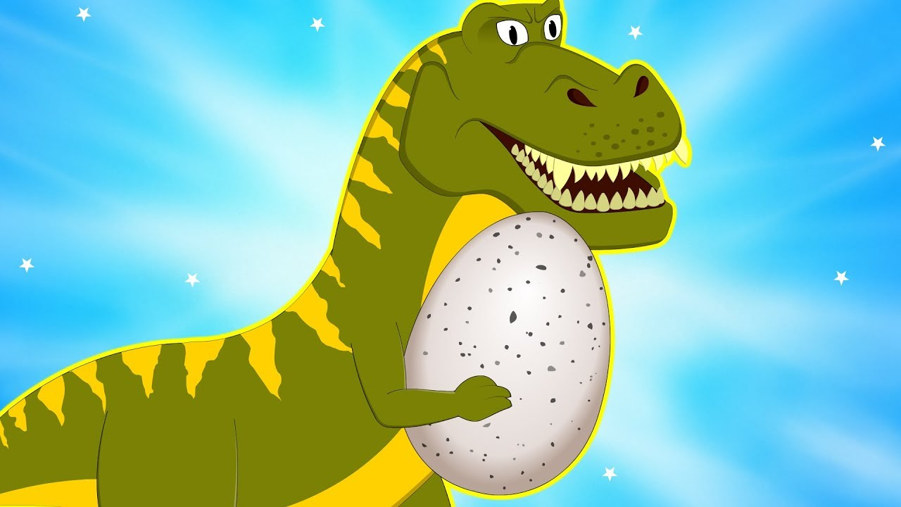 Big Dinosaur has Stolen Egg Protect Baby Dino Little