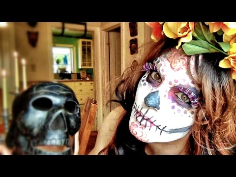 Easy La Catrina (sugar skull) makeup tutorial with stencils