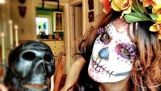 Easy La Catrina (sugar skull) makeup tutorial with stencils
