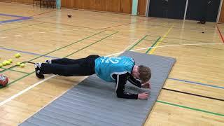 Styrketræning for målvogtere - Øvelse 5 (Planken på tæer med veksling mellem albuer og hænder)