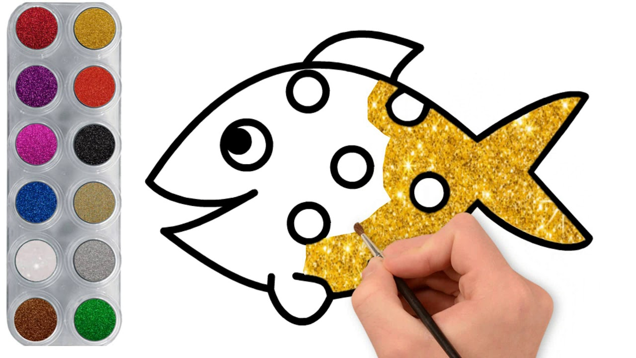 تعليم رسم وتلوين السمكة الذهبية Drawing And Coloring Golden Fish