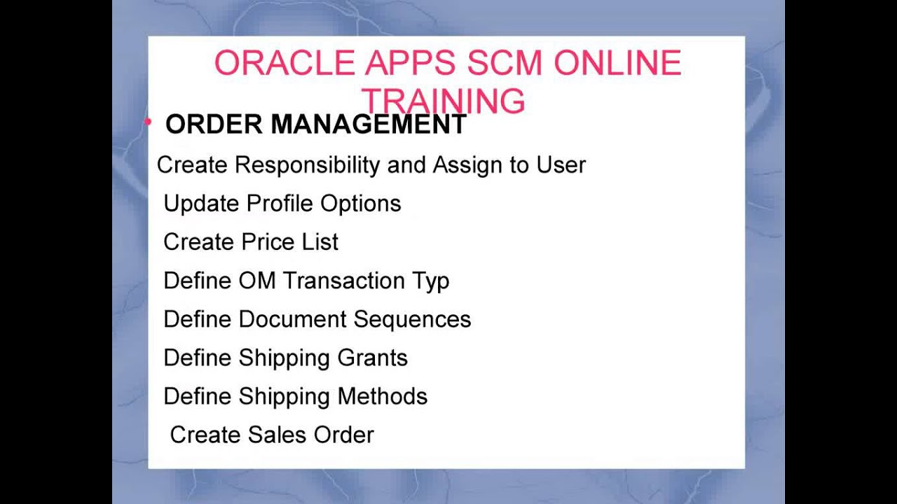 Oracle Apps SCM Online training institute in hyderabad
