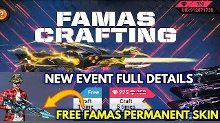 Get Free Famas Permanent Gun Skin  Free Fire New Event Craft Famas Full Details