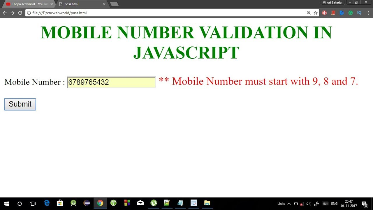 Mobile number validation in Javascript in Hindi | Phone number validation  in Javascript 2017