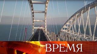 Мост в Крым: завершена укладка высокотехнологичного покрытия автомобильной части.