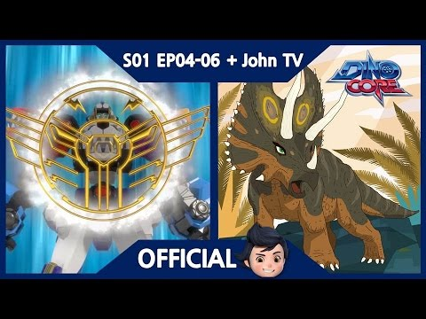 [DinoCore] S01 & John TV | Level 5 Union! Ultra D-Buster! Saber's Speed! | Pentaceratops | EP04-06