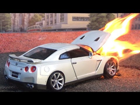 RC Nissan GT-R Burnout Ends In Flames