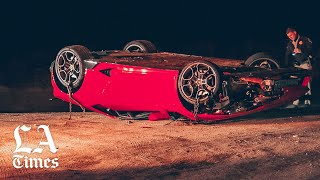 Lamborghini found upended, with drops of blood, on Angeles Crest Highway