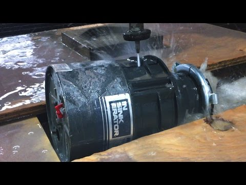 Inside Garbage Disposal vs 60,000 PSI Waterjet Cutter