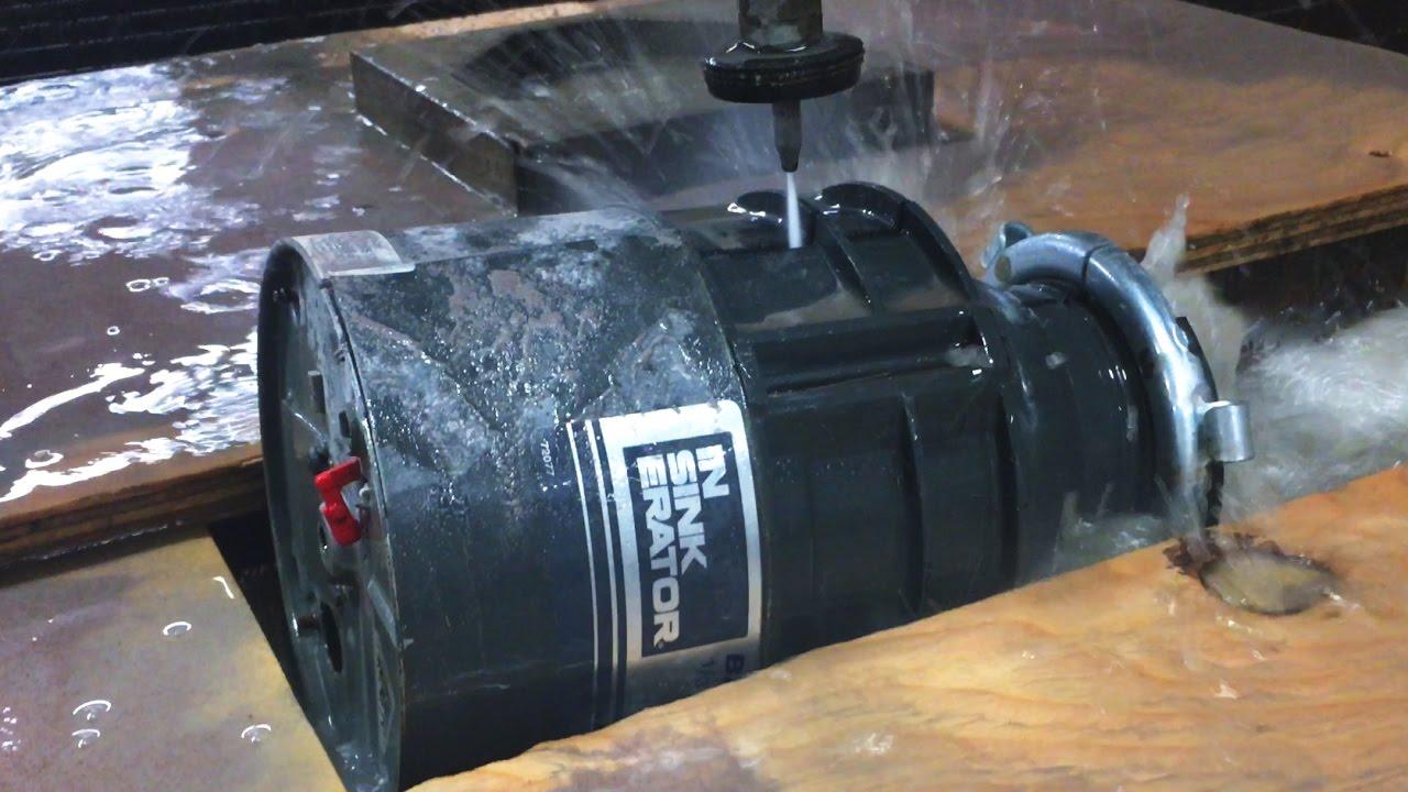 inside garbage disposal vs 60 000 psi waterjet cutter youtube. Black Bedroom Furniture Sets. Home Design Ideas