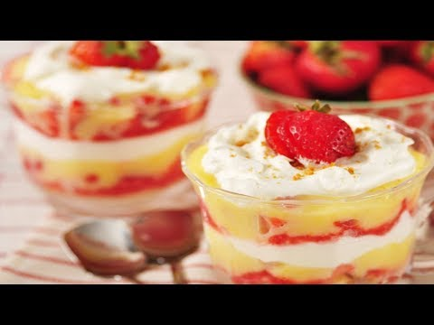 Strawberry & Lemon Curd Trifle Recipe Demonstration - Joyofbaking.com