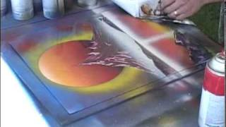 Spray Paint Art live painting #2 of 8 (Sun and Violet mountain)