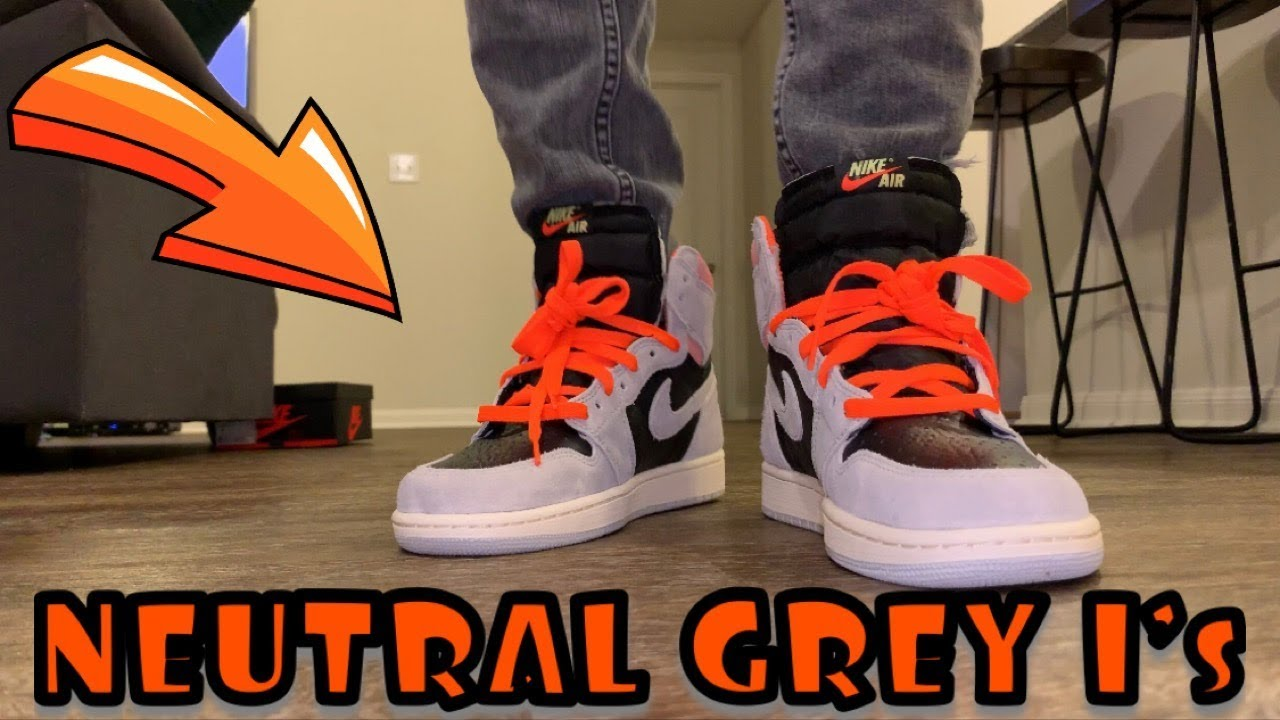 """new arrival cheap for discount outlet store sale AIR JORDAN 1 """"NEUTRAL GREY"""" / """"HYPER CRIMSON"""" HIGH OG ON FEET/ OUTFIT OF  THE DAY"""