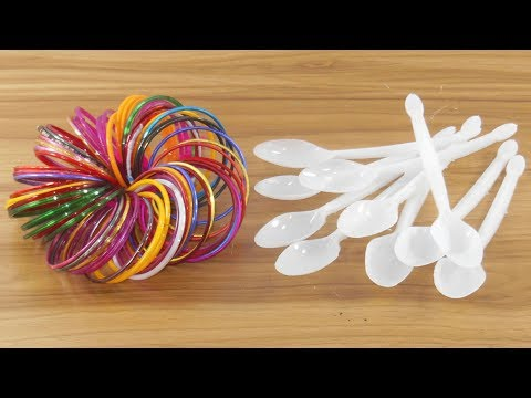 DIY Plastic spoon & old bangles craft idea | best out of waste | Plastic spoon reuse idea
