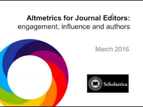 [Webinar] Altmetrics for Journal Editors