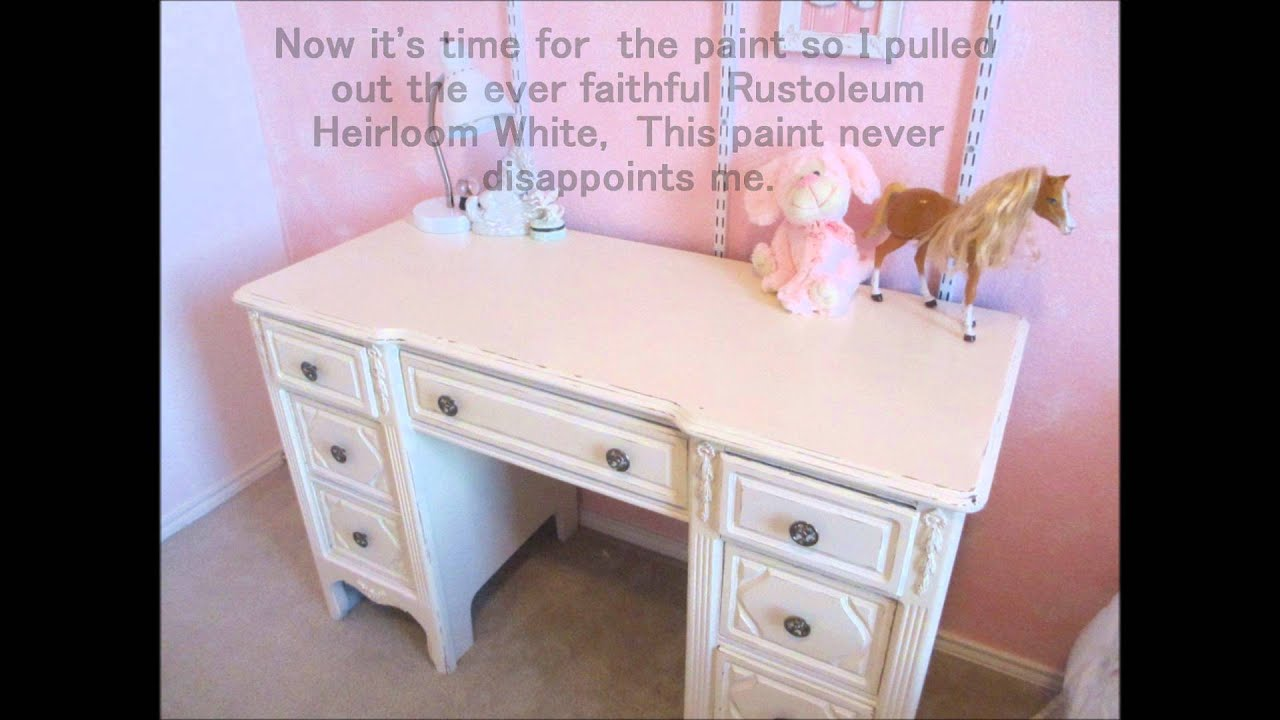 DIY White Heirloom Desk Shabby Chic YouTube