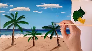 Landscape Painting #4 / Acrylic / Palm Trees on the Beach