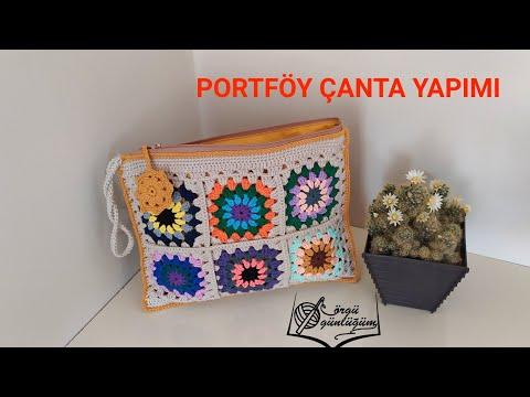 Portföy örgü çanta yapımı* Clutch çanta yapımı*portföy çanta dikimi* el çantası yapımı* örgü çanta