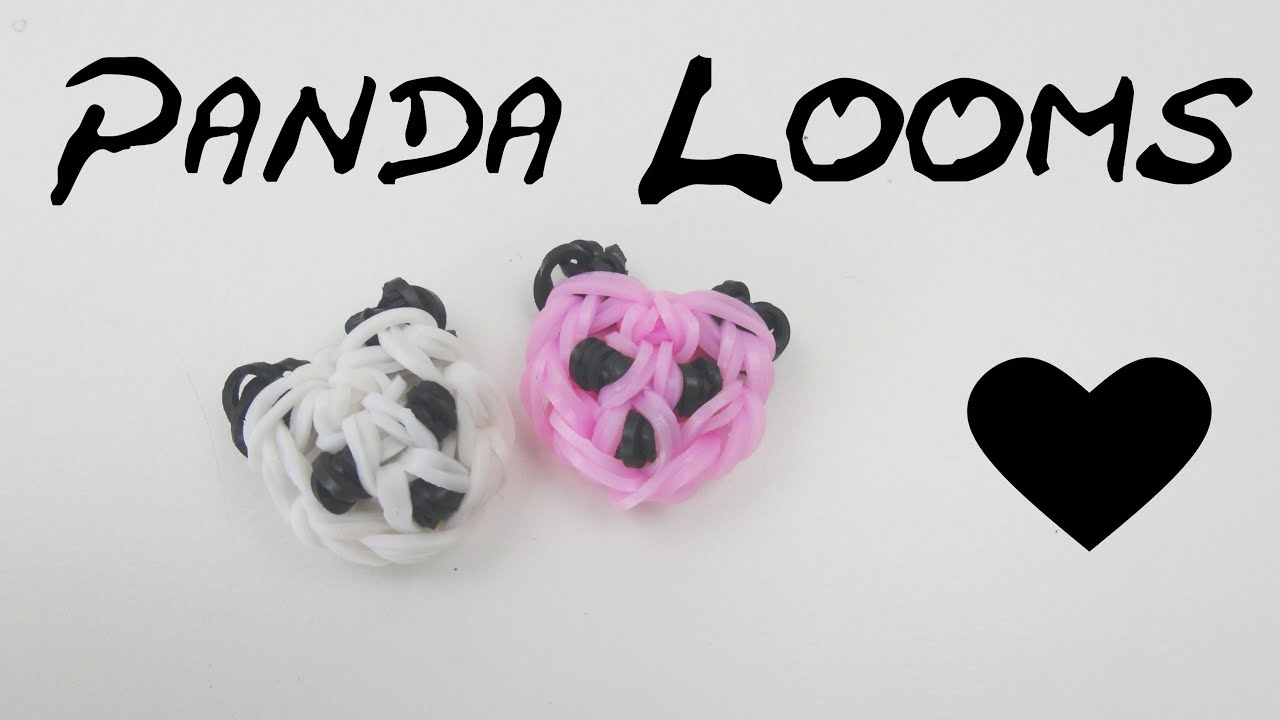 loom bands panda kopf anh nger m h kelnadel u loom board. Black Bedroom Furniture Sets. Home Design Ideas