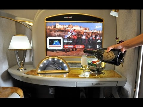 Emirates First Class Suite, Wine Tasting, Dubai First Class Lounge, HD