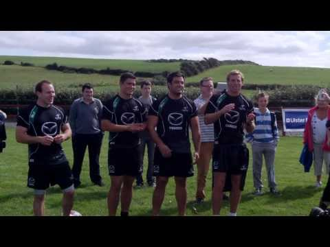 Connacht players sing the Green and Red of Mayo