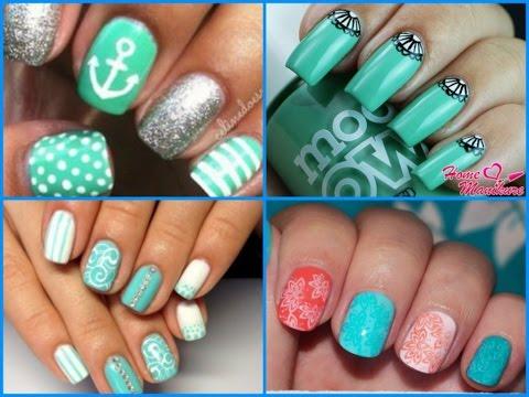 turquoise nail art ideas - trendy