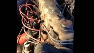 1966 Jeep Wagoneer 232 engine running for 1st time after sitting in a field since 1999.