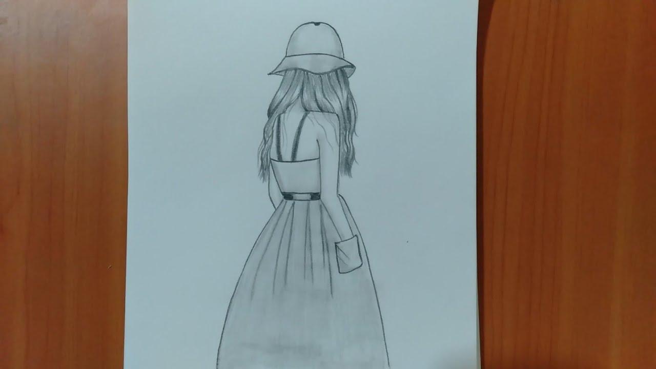رسم سهل تعليم رسم بنت من الخلف بالرصاص للمبتدئين بطريقة سهلة
