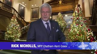 MPP Nicholls Wishes You a Merry Christmas & Happy New Year