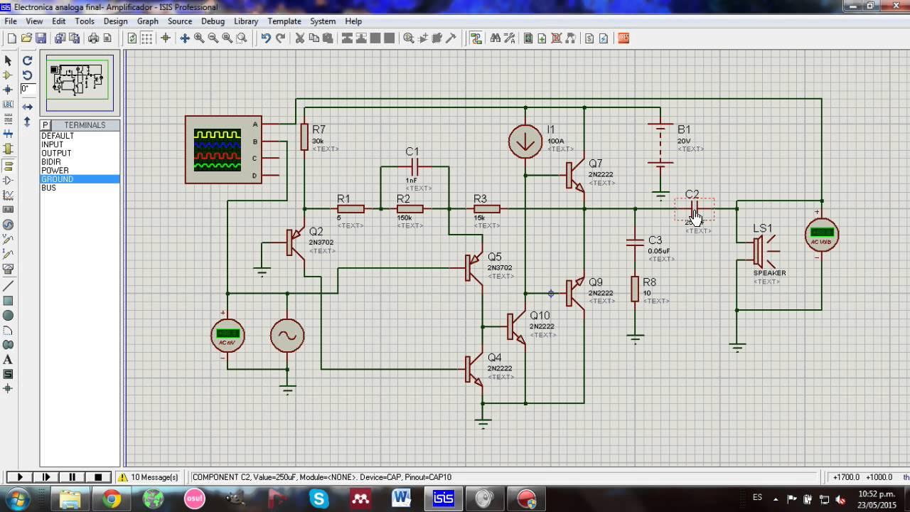 Circuito Amplificador De Audio : Circuito amplificador de audio w con transistores youtube