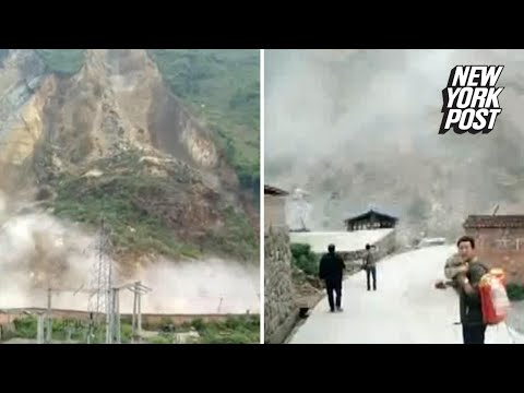 Massive landslide sends screams and dust into the air | New York Post