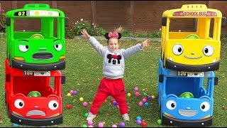 Sofia Pretend Play with School Bus and Tayo The Little Bus