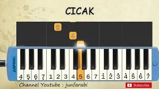 not pianika cicak - tutorial belajar pianika lagu anak - not angka cicak di dinding