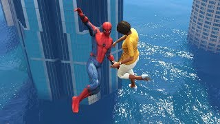 GTA 5 Water Ragdolls | SPIDERMAN Jumps/Fails #4 (Euphoria physics | Funny Moments)