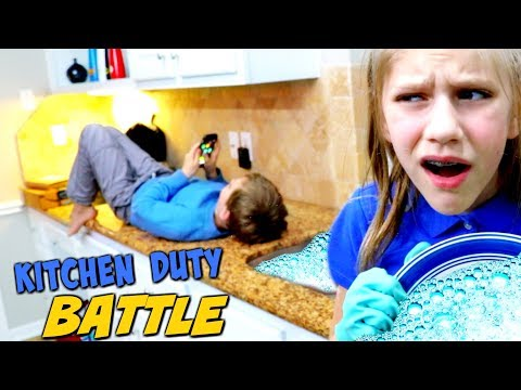 Hope vs Noah Kitchen Duty Battle! SuperHeroKids Skits in Real Life w/ Alice in Wonderland Game