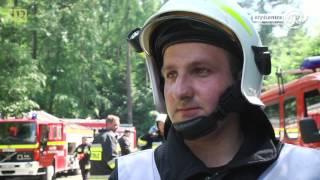 Myślenice iTV/Wypadek ciągnika z drzewem i pożar śmigłowca LPR - efektowny scenariusz ćwiczeń