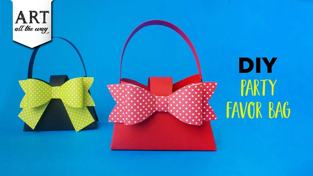 DIY Party Favor Bag | Paper Handbag | Paper Craft ideas| Handmade Gift Bags | DIY Bow | Kids Craft